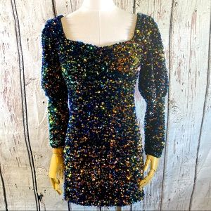 Zara Puff Sleeve Sequins Mini Dress SMALL EUC